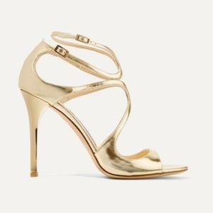 Jimmy Choo Lang 100 metallic leather sandals 40.5